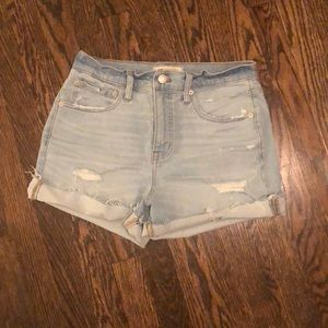 Madewell Light wash denim shorts (high rise)
